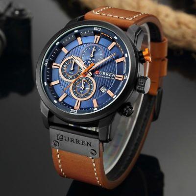 Men Waterproof Leather Aviator Army Military Chronograph Date Quartz Wrist Watch 5