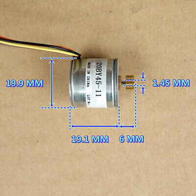 20BY45 Micro 20mm 2-phase 4-wire Precision Stepper Motor 18 Deg 14T Copper Gear 3
