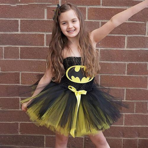Kids Girls Superhero Fancy Dress Christmas Child Batman Costume Clothes Sundress 4