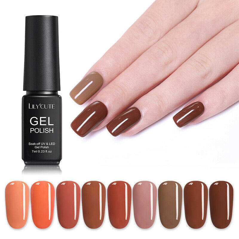 LILYCUTE 7ml Gel Polish  Red Orange Glitter Sequins Soak Off Nail Art Gel 9