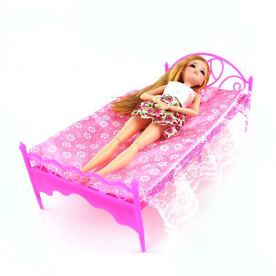 Barbies Dolls Pink Bed Dressing Table & Chair Set Bedroom Furniture Play House 7