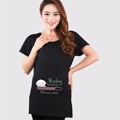 3b58cc998 ... Baby Loading Maternity Pregnancy T-shirt Funny Pregnant Tee Top Baby  Shower Gift 2