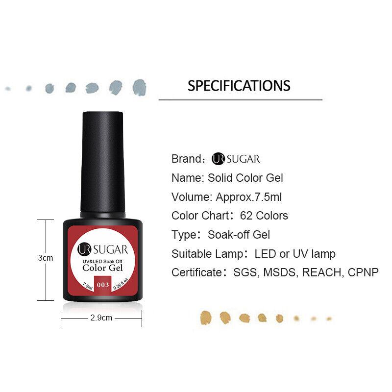 UR SUGAR 7.5ml Pure & Shimmer Gel Nail Polish Solid Color Soak Off UV Gel Lamp 3