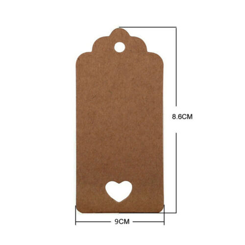 100pcs Blank Kraft Paper Hang Tags Wedding Party Favor Label Price Gift Card SS 9