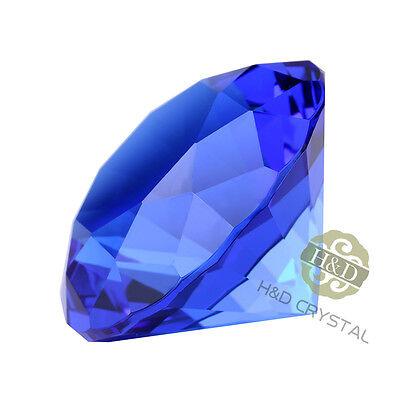 Blue Cut Crystal Diamond Shape Paperweight Glass Jewel Wedding Favor Gift 30mm 3