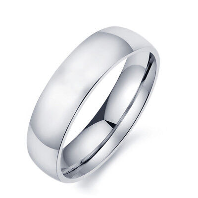 2/3/4/6/8mm Silver Band Men Women's 316L Stainless Steel Engagement Ring Sz 5-13 3