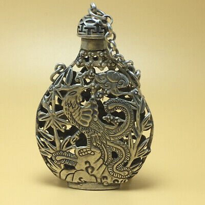 chinese Tibetan silver old copper hand carved Kirin phoenix statue snuff bottle 8