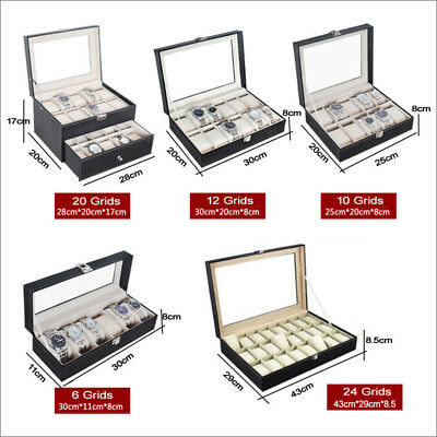 3/6/9/10/12/20/24 Watch Jewelry Storage Hold Box Watches Sunglasses Display Gift 2