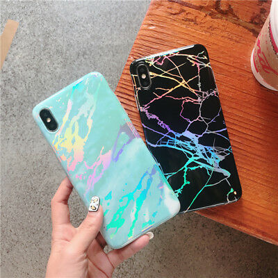Shiny Marble Iridescent Holographic Holo Soft Silicone Glossy Phone Case Cover 6