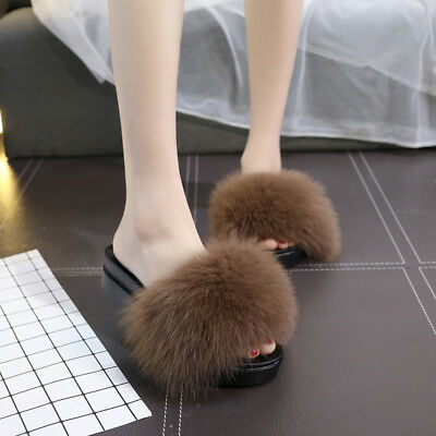 fcf53a4f61874 ... Luxury Large Fluffy Real Fox/Raccoon Fur Women Slippers Shoes Flat  Slides Sandal 6