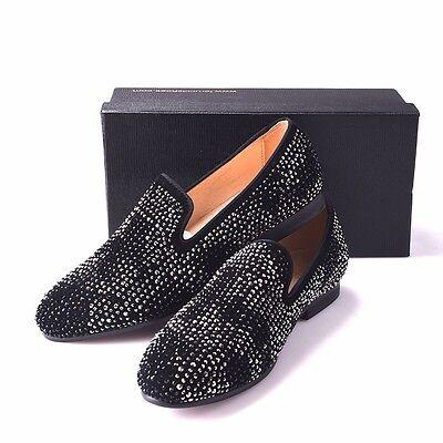 401fd3ee7417 ... Men FERUCCI Black Slippers Loafers Flat With Crystal GZ Rhinestone 5
