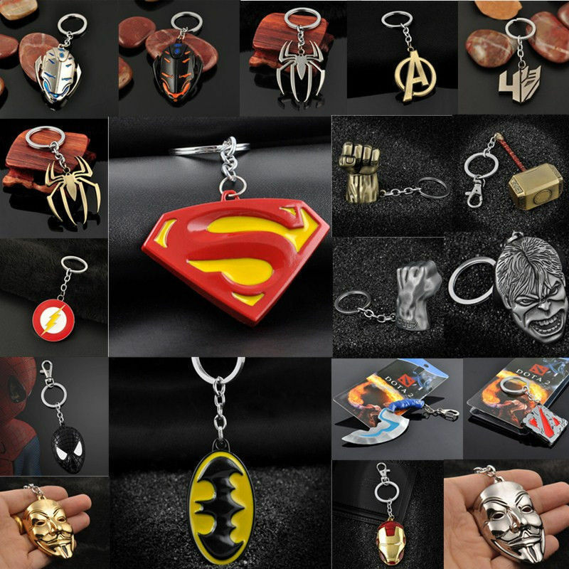 Anime Figure The Avengers Marvel Character Metal Keychain Keyring Car Keyforb 2