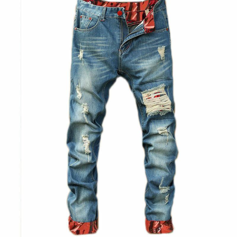 Pantalones Jeans Para Hombre Y Muchachos Con Agujero Ropa Hip Hop Para De Moda Eur 28 83 Picclick Fr