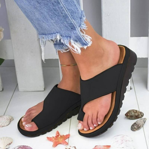 Womens Comfy Flat shoes Sandals Shoes Slipper - PU LEATHER - Bunion Corrector 12