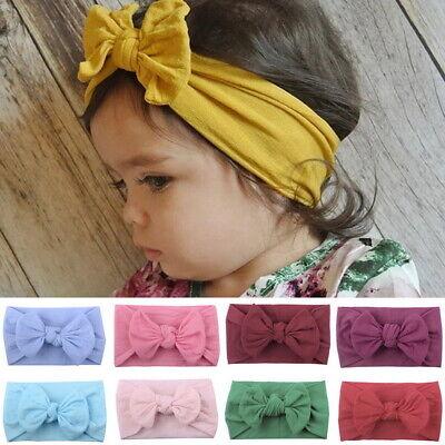 Baby Girls Kids Turban Knot Rabbit wrap Gifts UK Headband Bow Hair bands Head 3