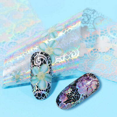 Holographic Flower Nail Foils Decal Nail Art Transfer Stickers Decoration Tips 11
