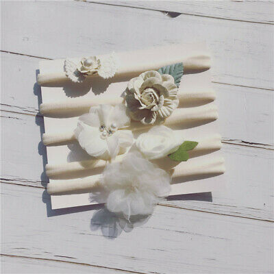 Handmade 5pcs/Set Newborn Baby Girl Headband Elastic Headdress Kid Hair Band Bow 6