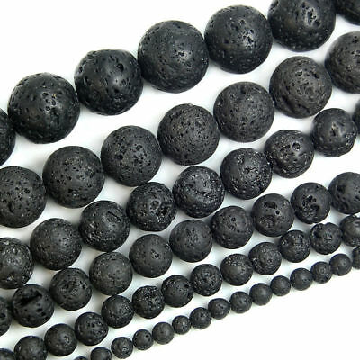 "Natural Black Volcanic Lava Gemstone Round Beads 15.5"" 8mm 10mm 12mm 14mm New// 7"