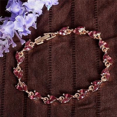 Women Gold Leaf Crystal Bangle Wristband Chain Bracelet Wedding Party Jewelry 5