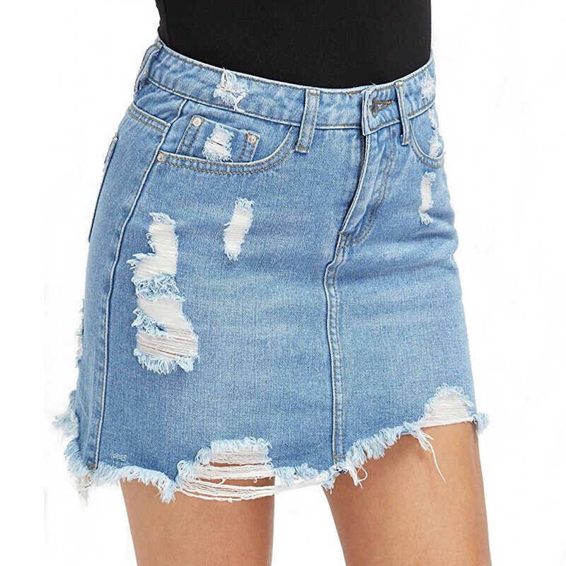 c9abb0ff0916 DAMEN JEANS ROCK Destroyed Kurze Bleistiftröcke Stretch Sommer Minirock  Party