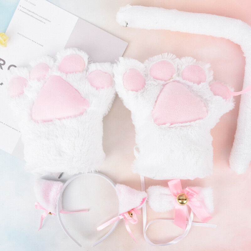 5pcs//set Cat Cosplay Costume Cat Tail Ears Collar Paws Gloves Set Cute BH