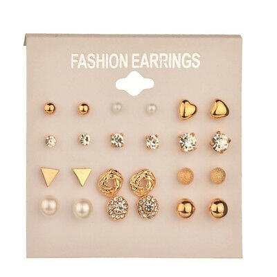 A Set Of 12 Pairs Different Style  Ear Studs Earrings Allergy Free Wholesale UK 3