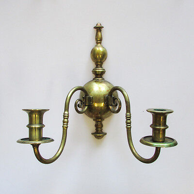 A Pair of Vintage Gilt Metal Wall Sconces Two-Light Candlestick Holders