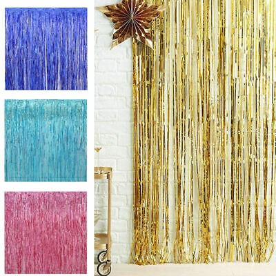 2M-3M Foil Fringe Tinsel Shimmer Curtain Door Wedding Birthday Party DECORATIONS 9