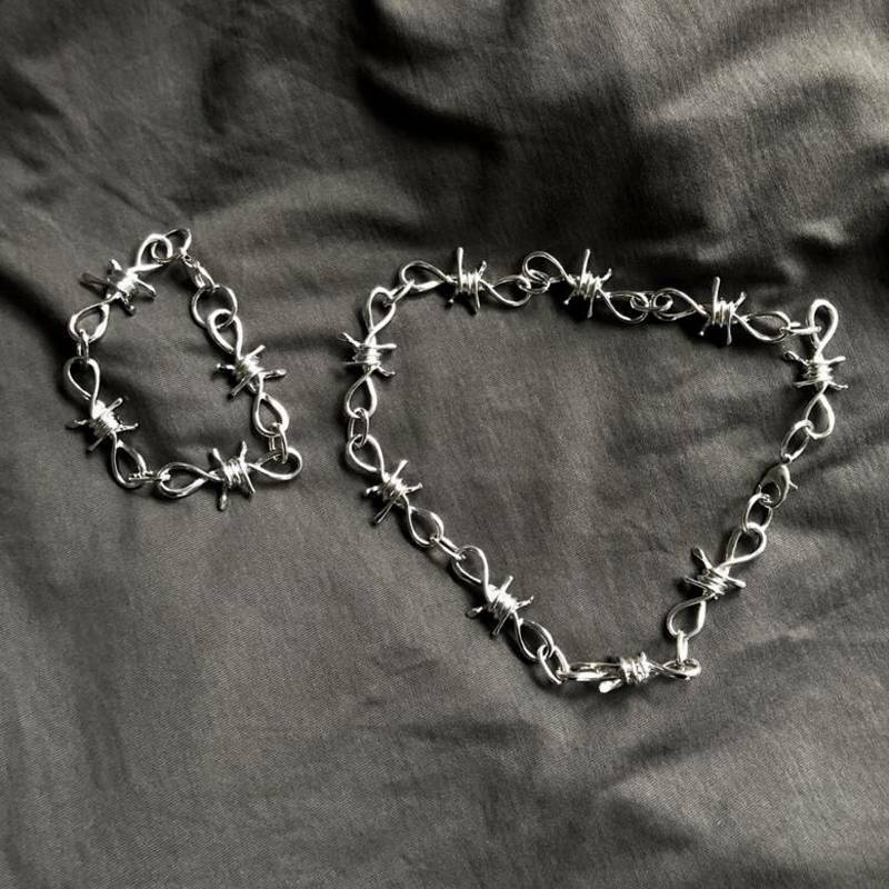 Thorns Iron Pants Chain Punk Gothic Alloy Barbed Wire Necklace Choker Fashion