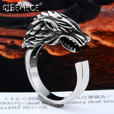 Stainless Steel Game of Thrones Ice Wolf House Stark Of Winterfell Biker Animal 2