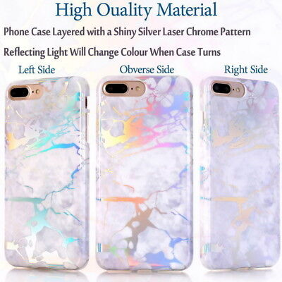 Shiny Marble Iridescent Holographic Holo Soft Silicone Glossy Phone Case Cover 10