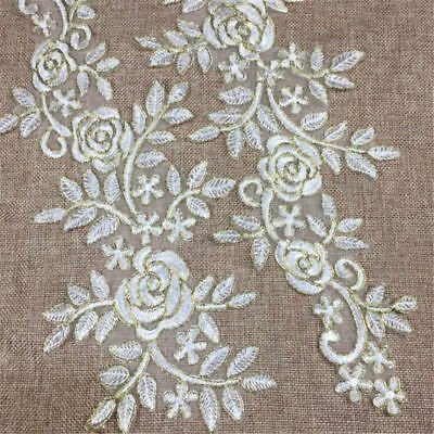 1 Pair DIY Embroidery  Lace Applique Sewing Wedding Dress Trim Craft Flora Patch 7