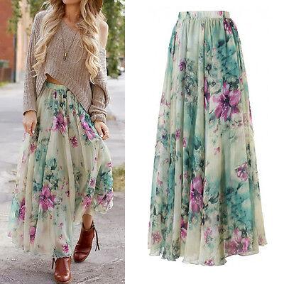 AU Chiffon BOHO Womens Floral Jersey Gypsy Long Maxi Full Skirt Beach Sun Dress 3