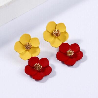 Fashion Crystal Women Flower Drop Dangle Earrings Ear Stud Jewelry Double Layer 9