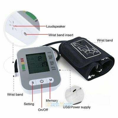 Automatic Digital LCD Arm Cuff Blood Pressure Pulse Monitor Sphgmomanometer NEW 2