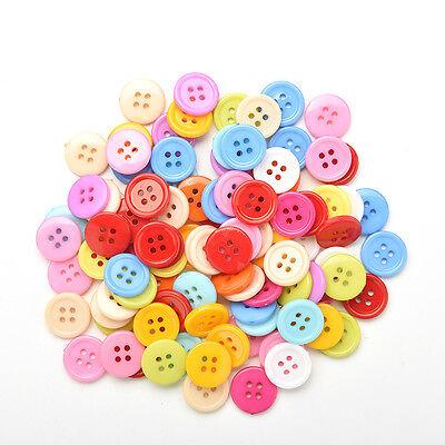 100 Stück Mischfarbe Tasten 4 Löcher Kinder DIY Handwerk 10mm 5 Größen BCDE 7