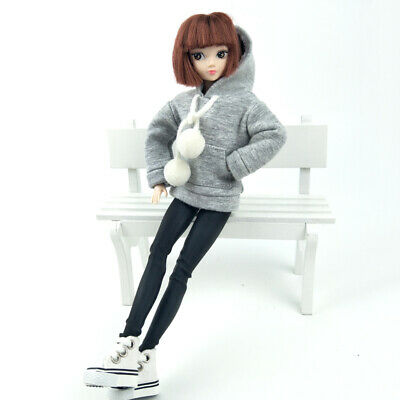 """Gray Sweatshirt Coat For 11.5"""" Doll Clothes Outfits Pants Canvas Shoes 1/6 Toy 4"""
