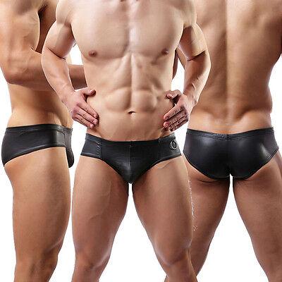 Hot Lingerie Men's Underwear Boxer Shorts PU Leather Briefs Underpants