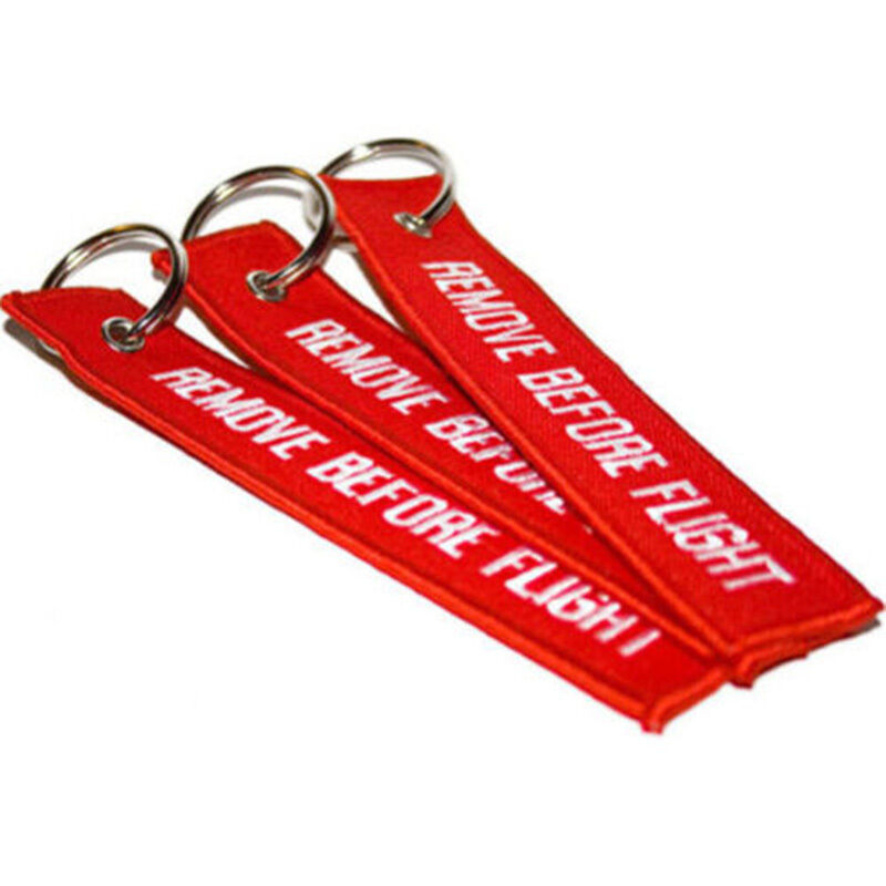Red Goody Remove Before Flight Embroidered Canvas Luggage Tag Label Key Chain 4