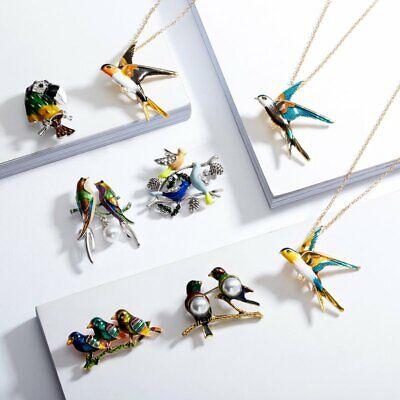 Fashion Brooch Pin Animal Bird Crystal Pearl Enamel Women Wedding Jewelry Gift 5