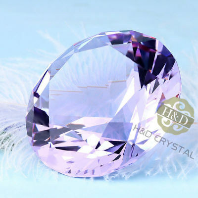 30mm purple Crystal Diamond Shape Paperweight Gem Display Ornament AH 2