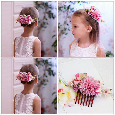 Women's Flower Hair Comb Slide Clips Pins Wedding Bridal Hair Accessories Party 4