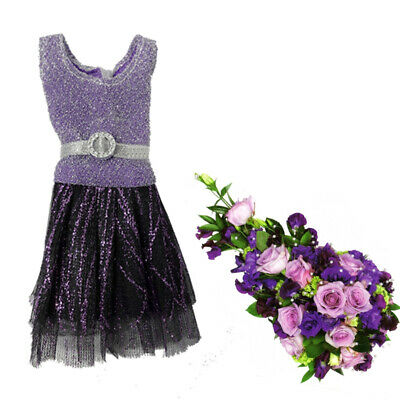 Casual Doll Clothes One Piece Patchwork Purple Glitter Short Dress For 1/6 Doll 5