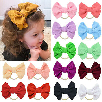 Nylon Baby Toddler Girls Big Bow Knot Headband Hairband Stretch Turban Head Wrap 3