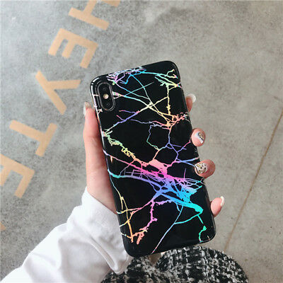Shiny Marble Iridescent Holographic Holo Soft Silicone Glossy Phone Case Cover 4
