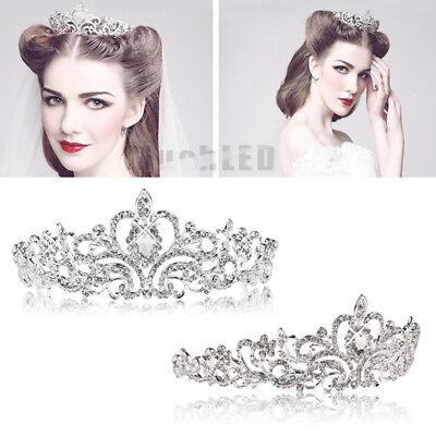 Bridal Princess Austrian Crystal Tiara Wedding Crown Veil Hair Accessory Silver