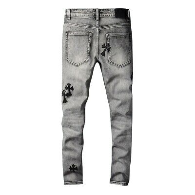New Italy Pop Style Embroidered Men/'s Pants Skinny Bleached Black Jeans AM689C