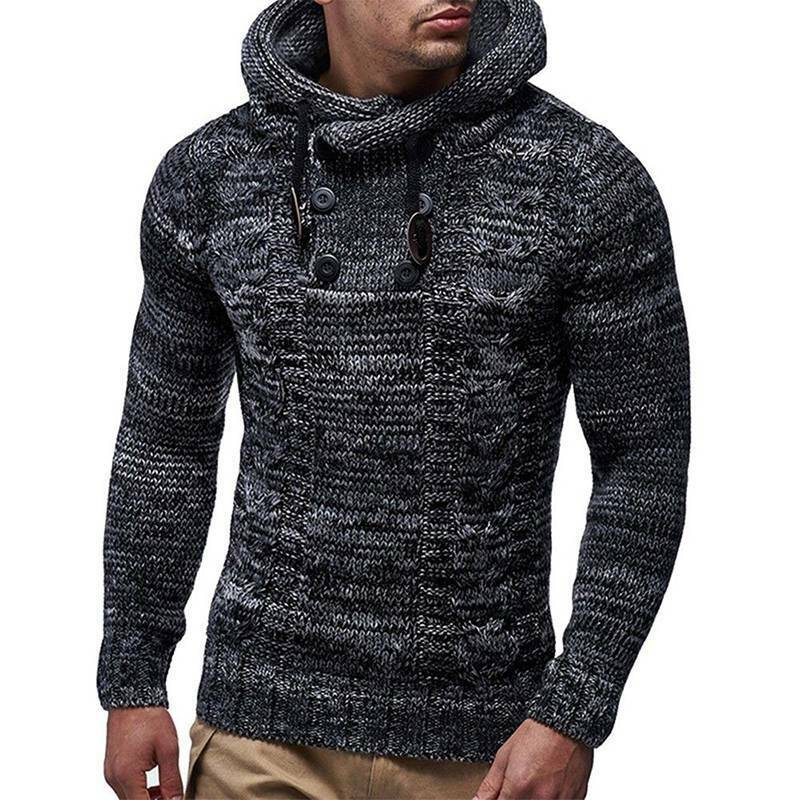 Mens Warm Knitted Hooded Long Sleeve Jumper Pullover Casual Sweater Winter Coat 9