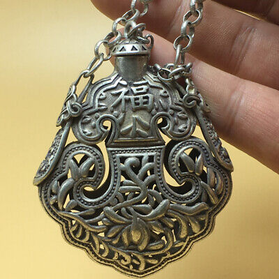 """chinese Tibetan silver old copper hand carved """"福"""" statue snuff bottle 57g a791 6"""