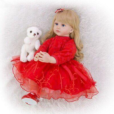 Cute 24 Inch Reborn Toddler Doll Newborn Baby Girl Doll Lovely Long Hair Doll 6